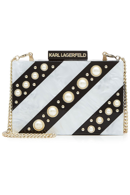 Karl Lagerfeld Printed Box Clutch With Faux Pearls In Black