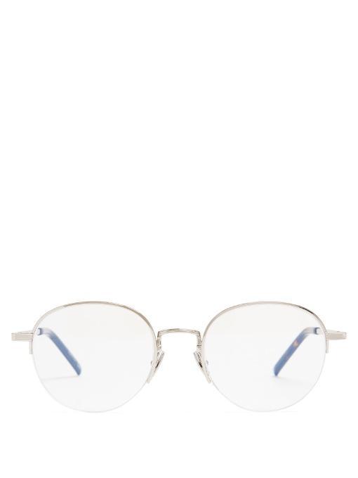 Saint Laurent Round Half-frame Glasses In Silver