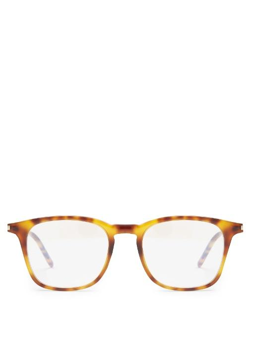 Saint Laurent Square-frame Acetate Glasses In Brown Multi