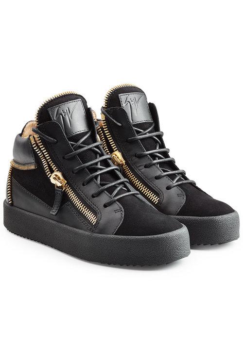 Giuseppe Zanotti Leather And Velvet High Top Sneakers In Black