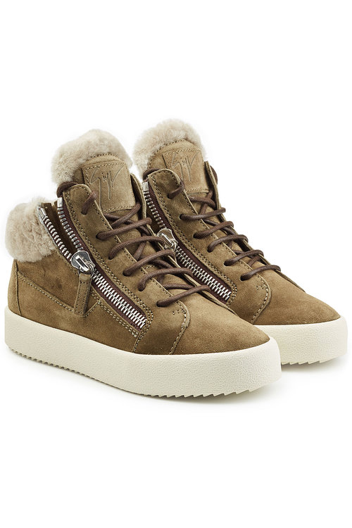Giuseppe Zanotti Suede And Shearling Sneakers In Brown