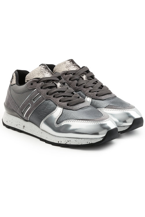 Hogan Sneakers With Suede And Metallic Leather In Silver