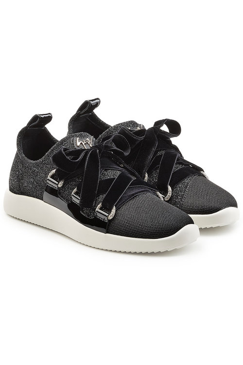 Giuseppe Zanotti Fabric Sneakers With Velvet Laces In Black