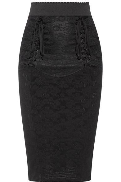 Dolce & Gabbana Lace-up Mesh-jacquard Pencil Skirt In Black