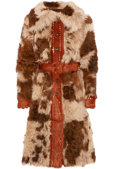 Prada Stud-embellished Shearling Coat In Brown