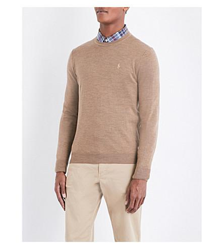 Polo Ralph Lauren Logo-embroidered Slim-fit Knitted Sweater In Honey Brown Hea