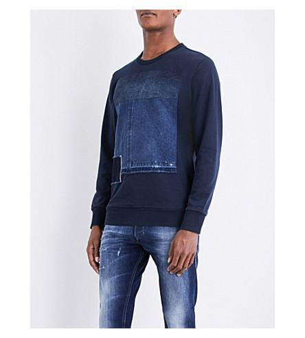 Diesel S-peter Denim-detail Cotton-jersey Sweatshirt In Total Eclipse