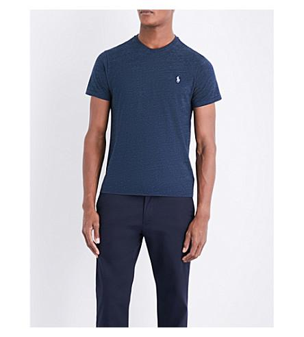 Polo Ralph Lauren Custom Slim-fit Marl-pattern T-shirt In Blue Eclipse He