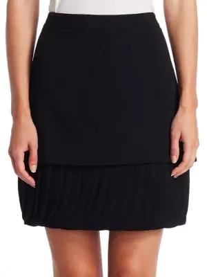 Brandon Maxwell Crepe Skirt With Pleated Petal Hem In Black