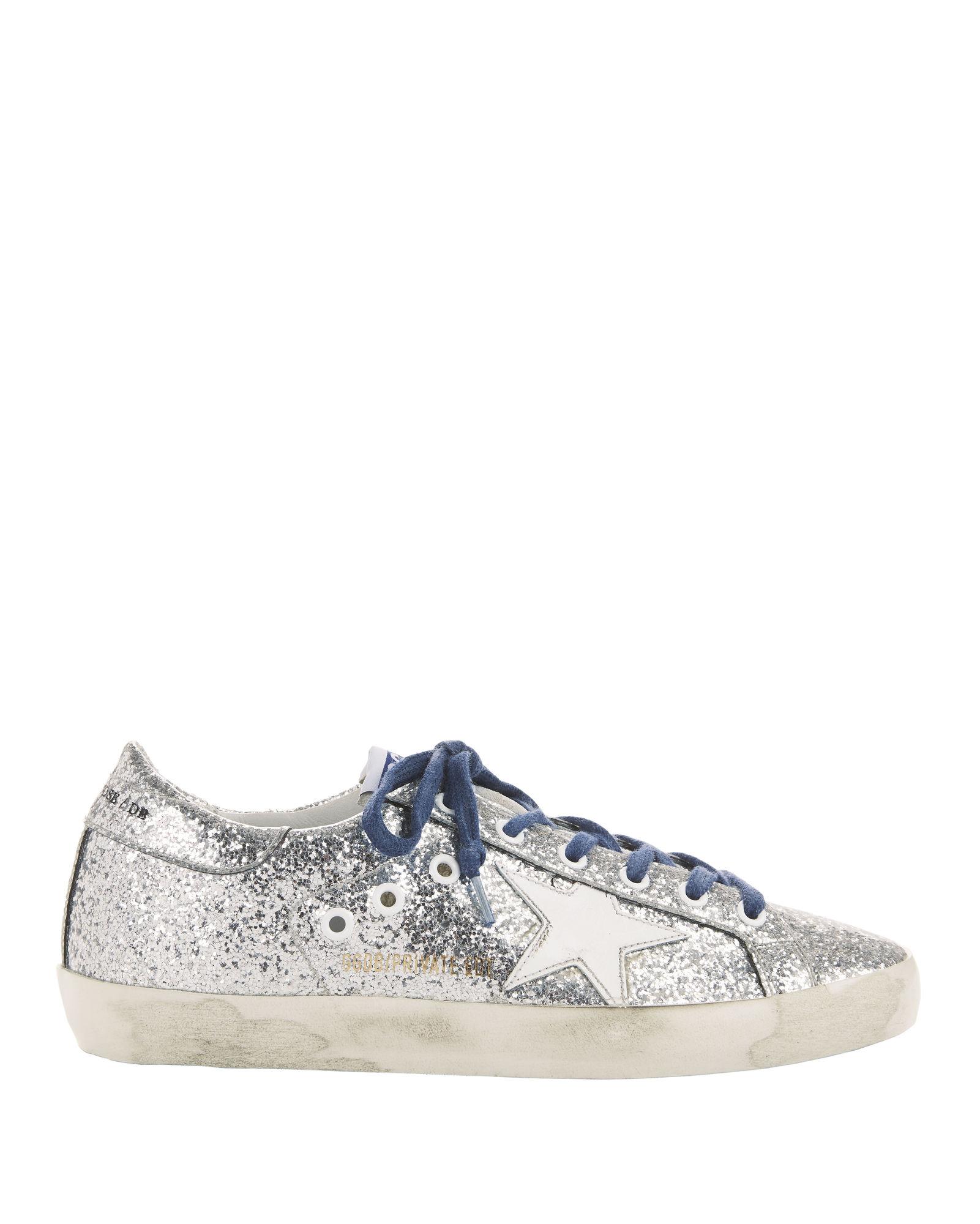 Golden Goose Superstar Blue Lace Silver Glitter Sneakers