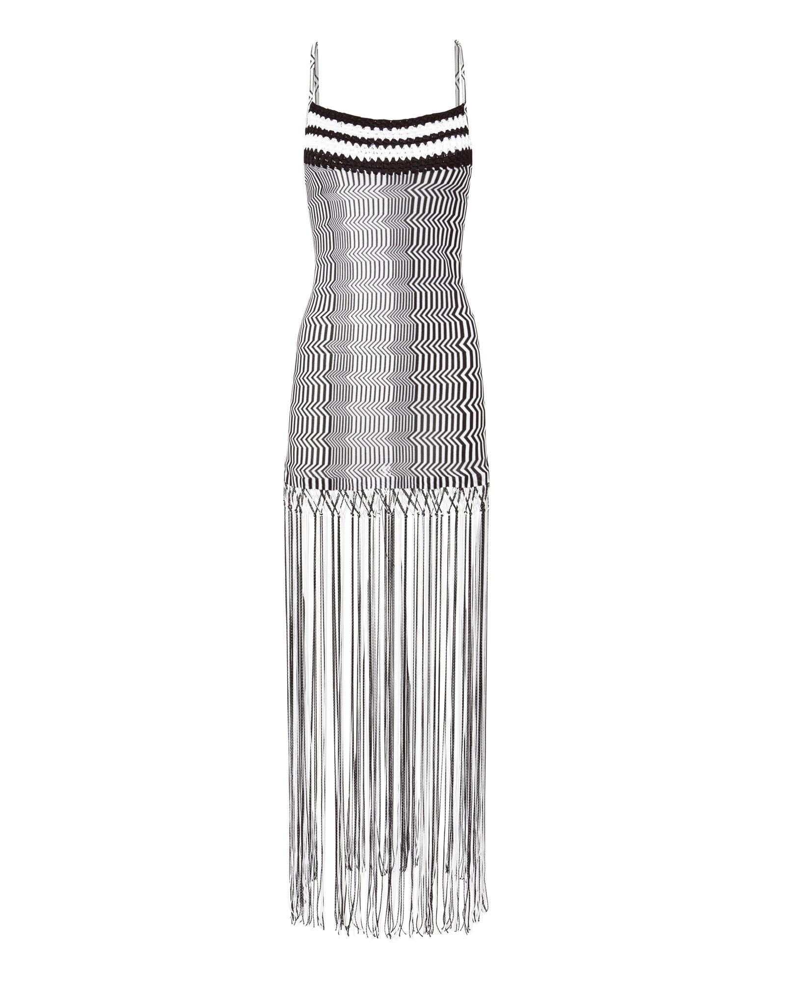 Missoni Black And White Zig Zag Fringe Mini Dress