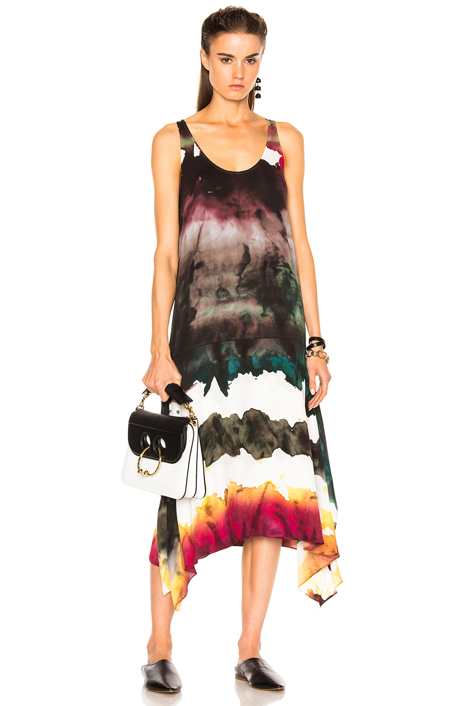 Acne Studios Saleh Dress In Abstract Green Ombre And Tie