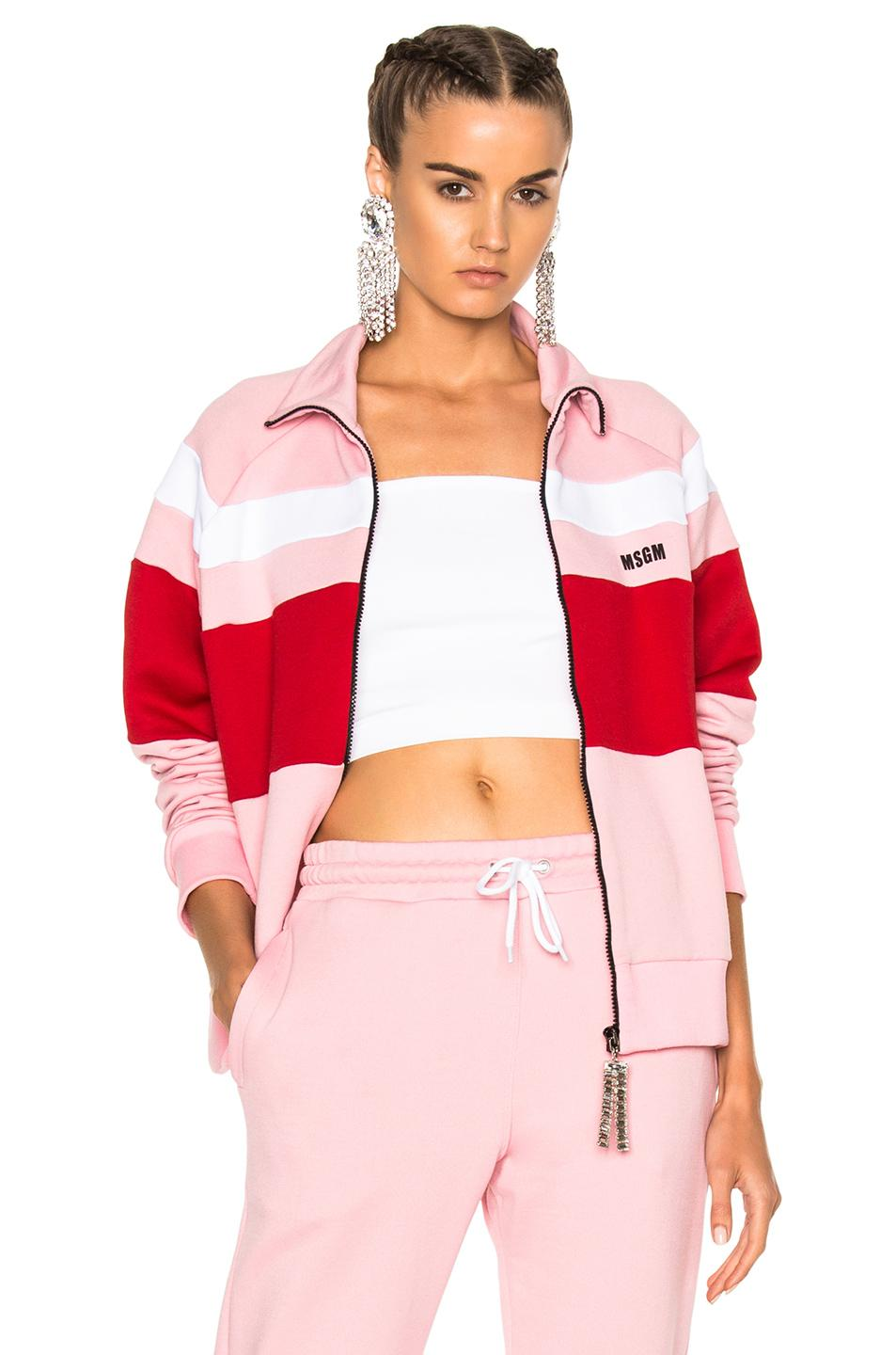 Msgm Track Jacket In Pink,red