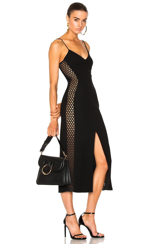 David Koma Macrame Side Panel Midi Dress In Black