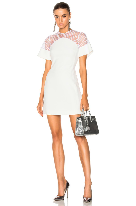 David Koma Short Flock Sleeve Mini Dress In White
