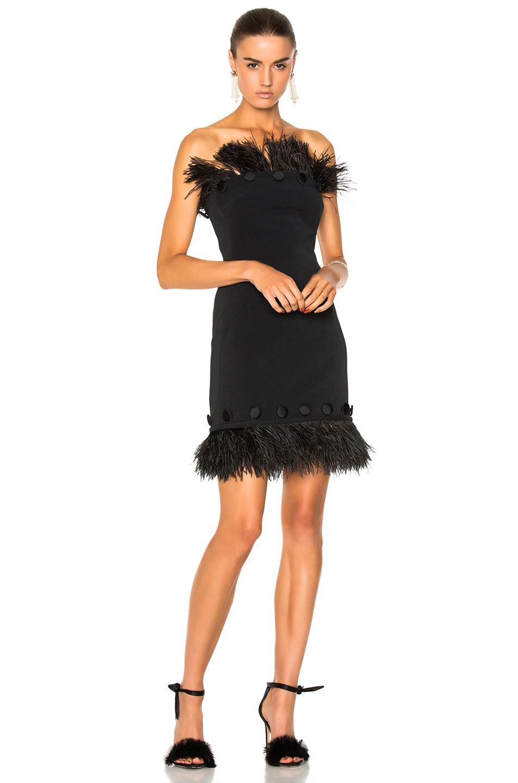 David Koma Button & Feather Detail Strapless Dress In Black