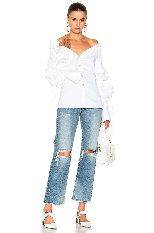 Caroline Constas Margaret Off-the-shoulder Cotton-blend Poplin Blouse In White