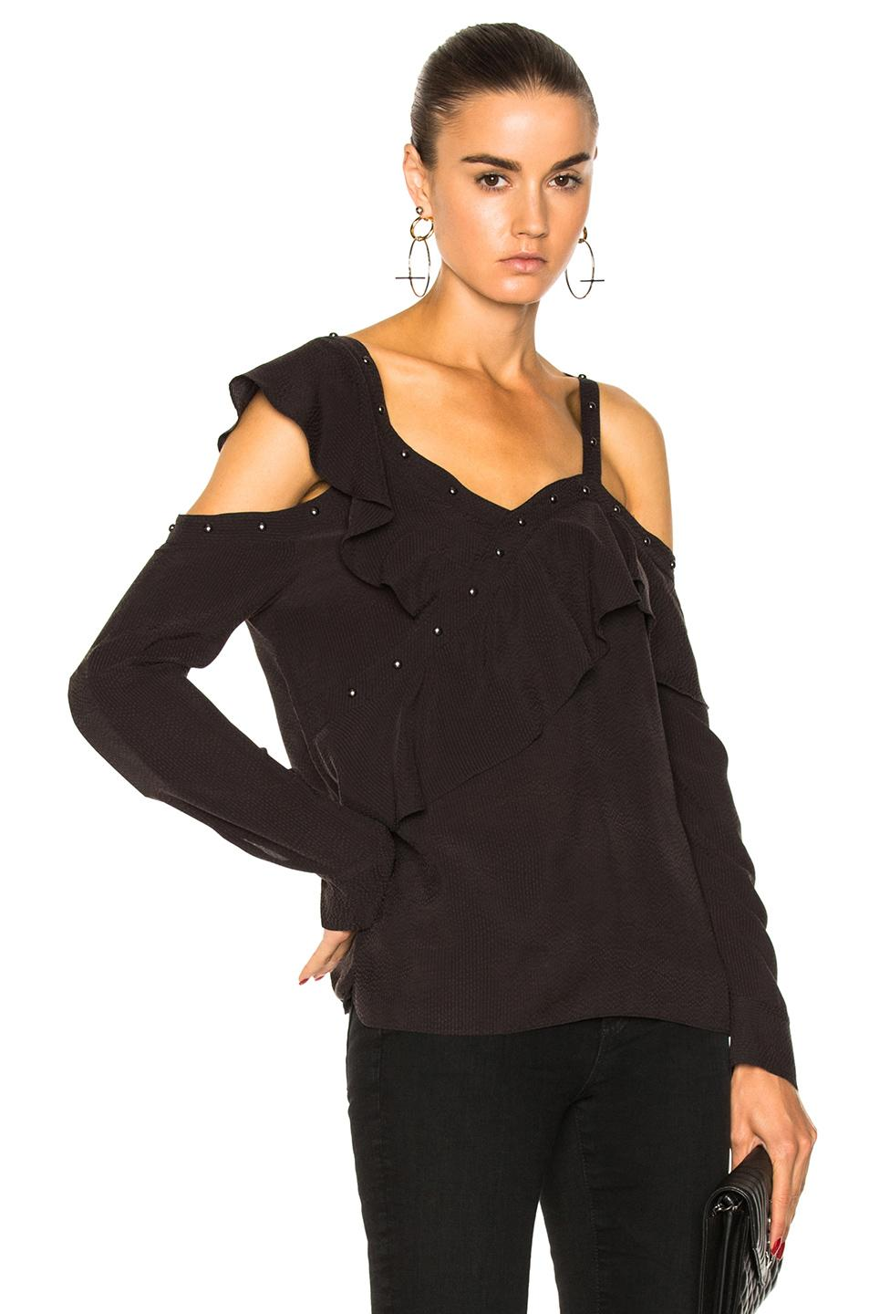 Veronica Beard Clementine Ruffle Top In Black