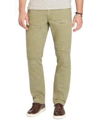Polo Ralph Lauren Cotton Herringbone Straight Fit Pants In Slate Green