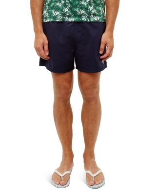 Ted Baker Solid Drawstring Swim Shorts In Navy