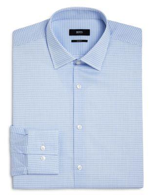 Hugo Boss Jenno Outline Grid Check Dobby Slim Fit Dress Shirt In Light Blue