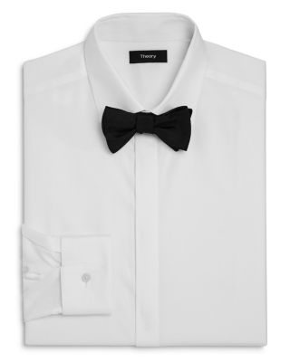 Theory Textured Slim Fit Tuxedo Shirt In White