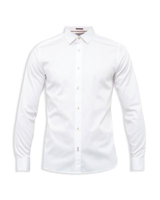 Ted Baker Exon Satin Stretch Slim Fit Button-down Shirt In White