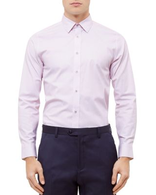 Ted Baker Fiwhy Woven Striped Slim Fit Dress Shirt In Pink