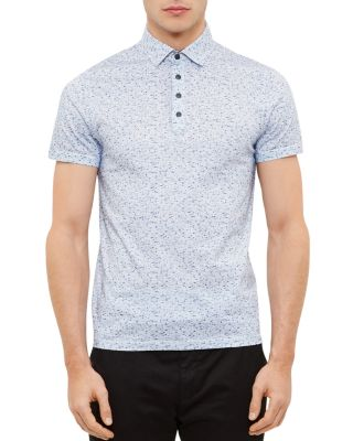 Ted Baker Rovein Printed Nep Regular Fit Polo In Blue