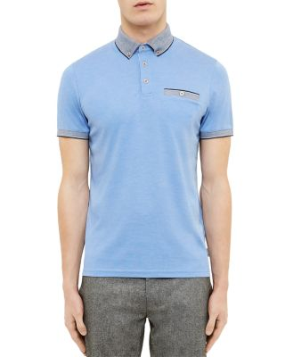 Ted Baker Shapiro Oxford Regular Fit Polo In Blue