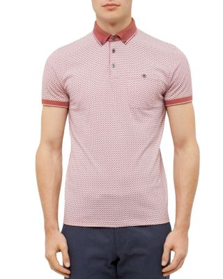 Ted Baker Enders All Over Print Polo Shirt In Mid Pink