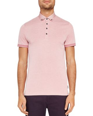 Ted Baker Branin Woven Collar Oxford Regular Fit Polo In Dusky Pink