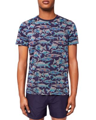 Ted Baker Fellow Fish Print Tee In Navy