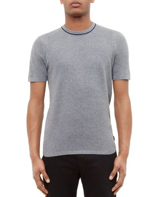 Ted Baker Zico Textured Knit Tee In Gray Marl
