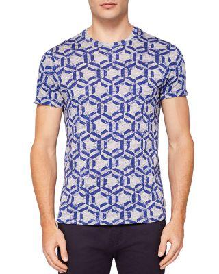 Ted Baker Mitch Hexagon Print T-shirt In Blue