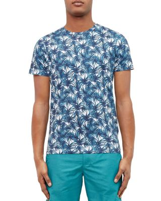 Ted Baker Leaf Print Tee In Blue