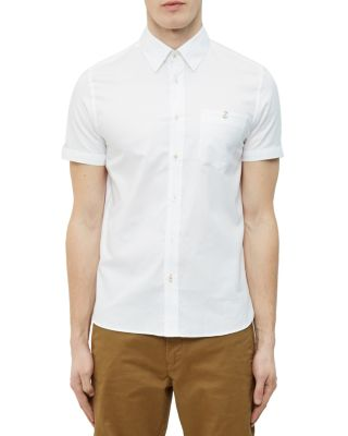 Ted Baker Mini Textured Regular Fit Button-down Shirt In White