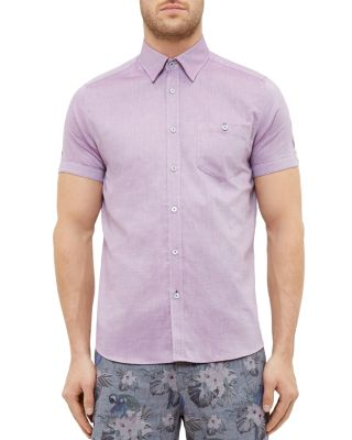 Ted Baker Wooey Extra Slim Fit Mini Texture Sport Shirt In Purple