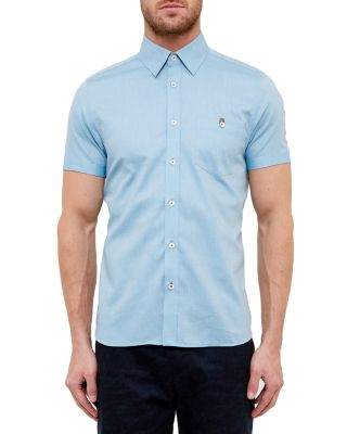 Ted Baker Wooey Extra Slim Fit Mini Texture Sport Shirt In Green