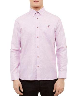 Ted Baker Linen Regular Fit Button-down Shirt In Pink