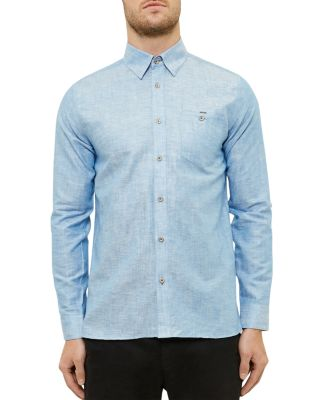 Ted Baker Linen-cotton Regular Fit Button Down Shirt In Bright Blue