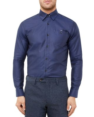 Ted Baker Portmyo End On End Regular Fit Button-down Shirt In Navy