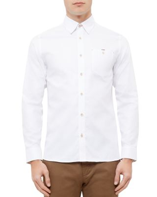 Ted Baker Portmyo End On End Regular Fit Button-down Shirt In White