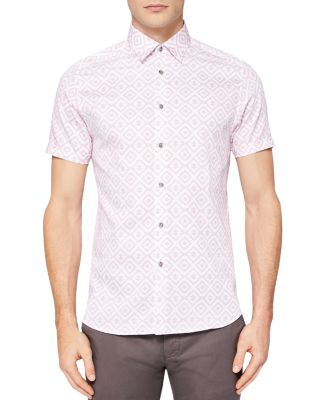 Ted Baker Almada Statement Printed Regular Fit Button-down Shirt In Pink
