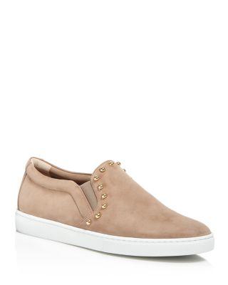 Salvatore Ferragamo Studded Slip-on Sneakers In Clay Beige/gold