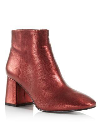 Ash Metallic Leather Block Heel Booties - 100% Exclusive In Metallic Red