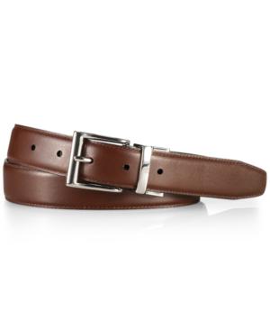 Polo Ralph Lauren Men's Accessories, Douglas Leather Belt In Brown/silver