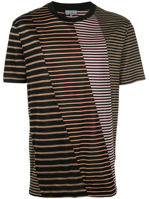 Lanvin Multistripe Patchwork T-shirt In Black Multi