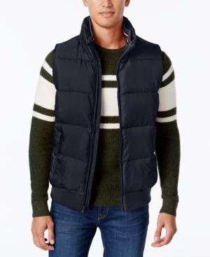 Tommy Hilfiger Men's Zip-front Puffer Vest, Created For Macy's In Midnight