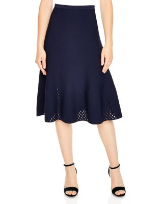 Sandro Stretch Knit Cut-out Midi Skirt In Blue